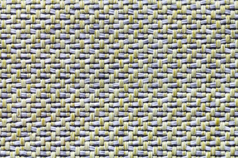 Tissu blanc et jaune de vintage avec le plan rapproché tissé de texture Fond de macro de textile images libres de droits