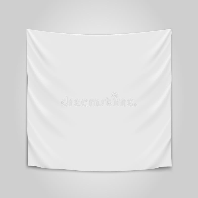 Tissu blanc vide accrochant Concept vide de drapeau illustration libre de droits