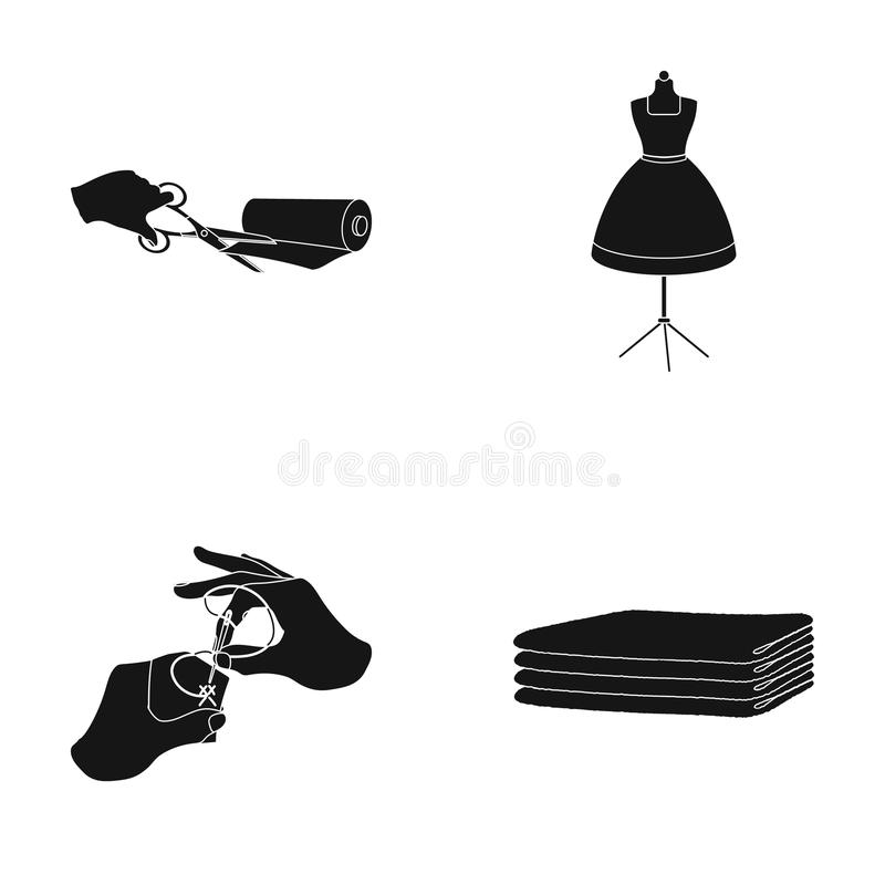 Tissu, ciseaux pour couper des tissus, couture de main, factice pour des vêtements Couture et icônes réglées de collection d'équi illustration stock