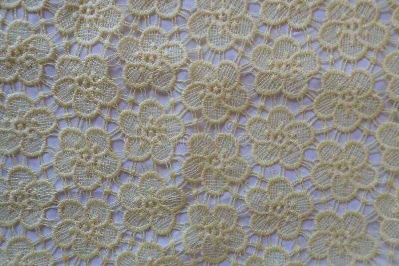 Tissu crème de dentelle de crochet photos stock