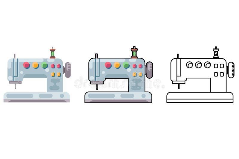 Tissu d'outil de métier de machine à coudre de broderie coudre l'illustration de vecteur d'icône d'isolement par conception plate illustration libre de droits
