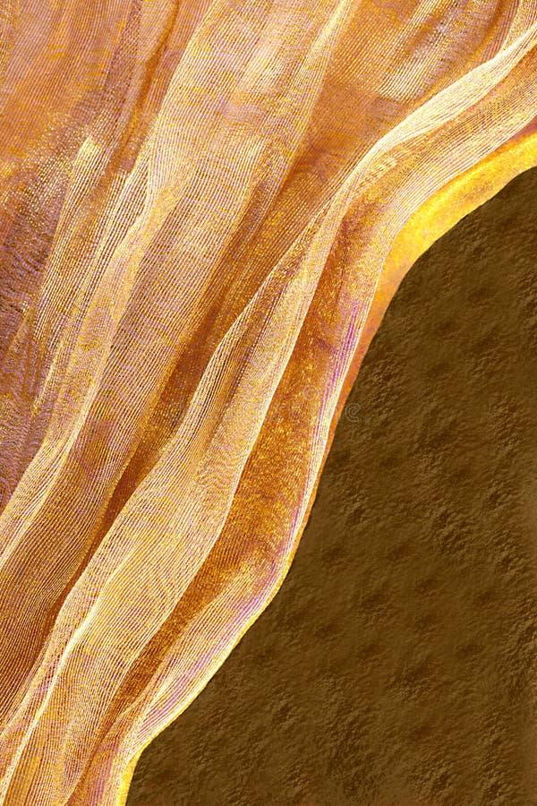 Tissu d'or sur le fond brun image libre de droits