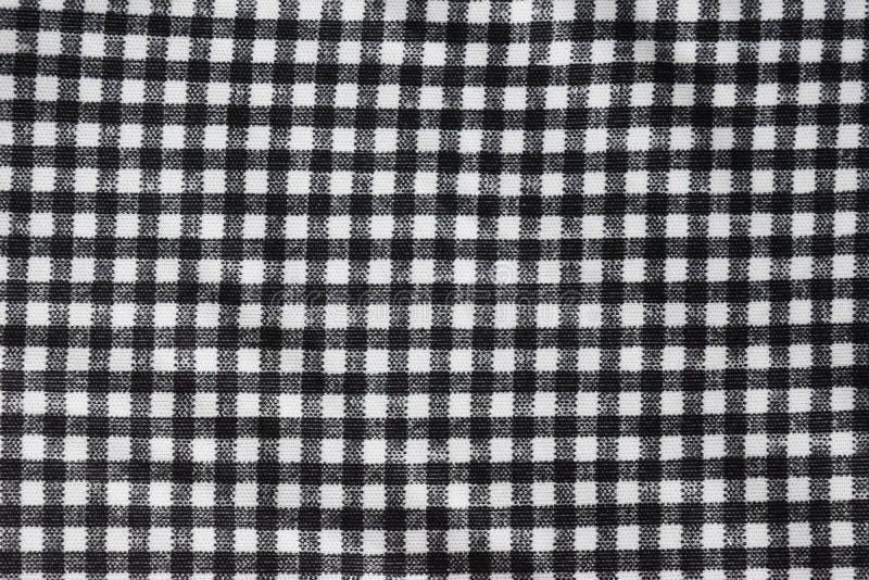 Tissu de coton naturel, fond de surface noire et blanche et approximative de modèle de grille photographie stock