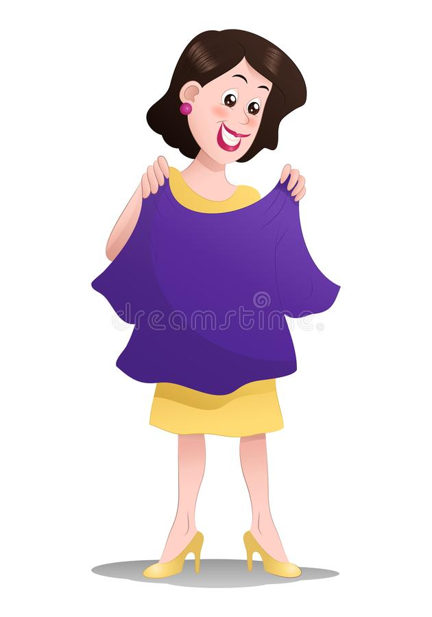 Tissu de sélection de femme d'achats sur d'isolement illustration stock