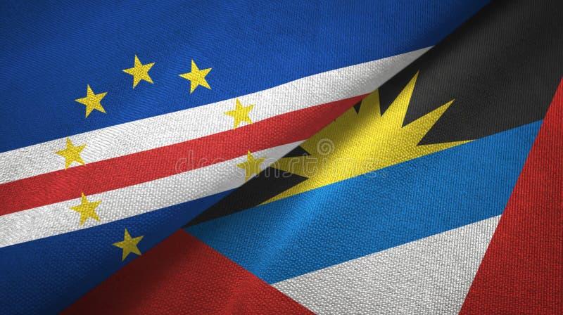 Tissu de textile de drapeaux de Cabo Verde et de l'Antigua-et-Barbuda deux, texture de tissu illustration de vecteur