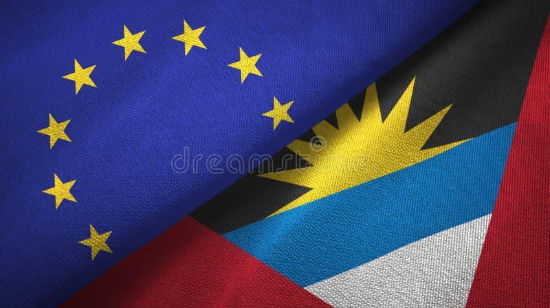 Tissu de textile de drapeaux d'Union européenne et de l'Antigua-et-Barbuda deux, texture de tissu illustration de vecteur