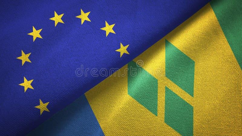 Tissu de textile de drapeaux d'Union européenne et de Saint-Vincent-et-les-Grenadines deux illustration libre de droits