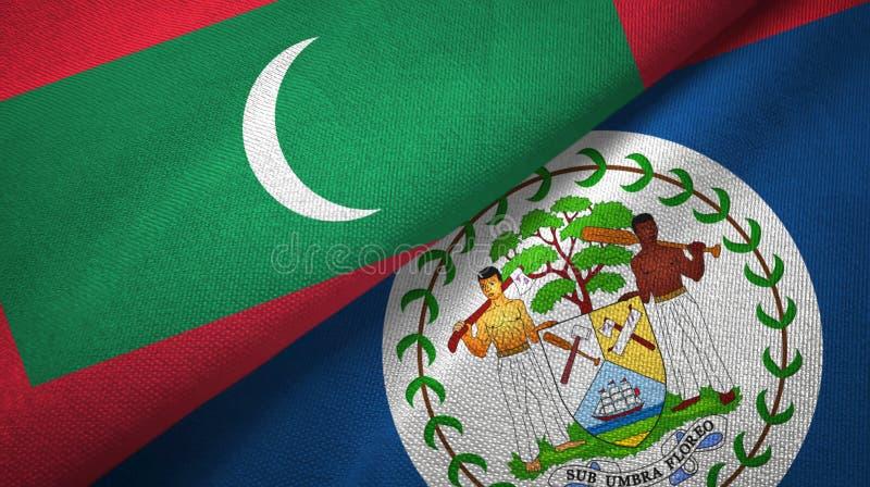 Tissu de textile de drapeaux des Maldives et de Belize deux, texture de tissu illustration de vecteur