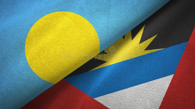 Tissu de textile de drapeaux des Palaos et de l'Antigua-et-Barbuda deux, texture de tissu illustration libre de droits