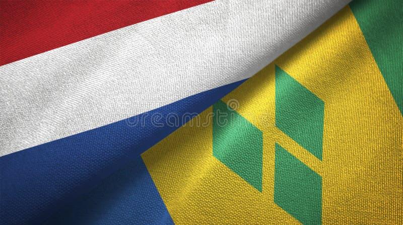 Tissu de textile de drapeaux des Pays-Bas et de Saint-Vincent-et-les-Grenadines deux illustration libre de droits