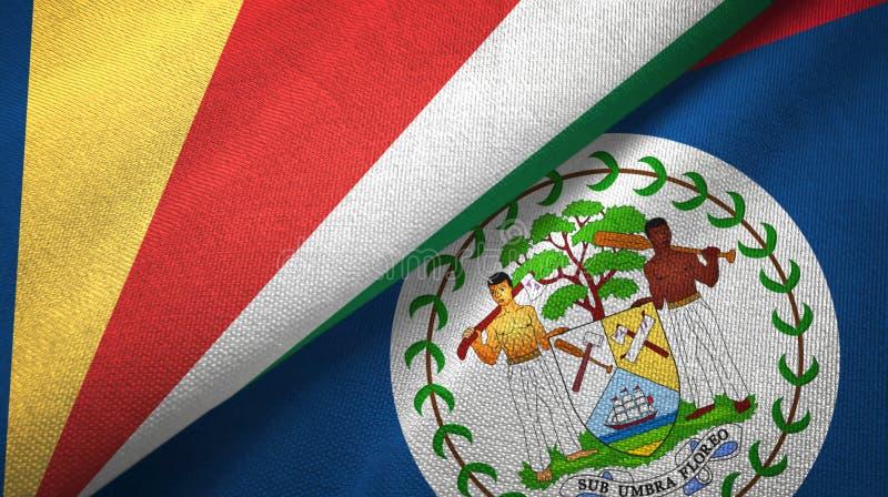 Tissu de textile de drapeaux des Seychelles et de Belize deux, texture de tissu illustration stock