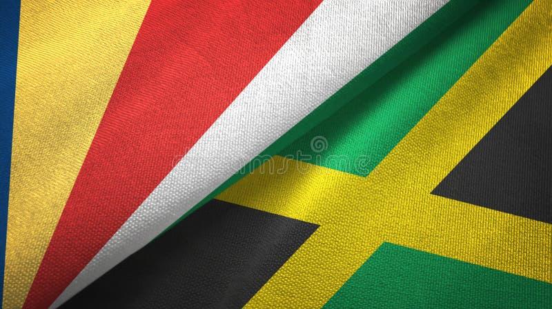 Tissu de textile de drapeaux des Seychelles et de la Jamaïque deux, texture de tissu illustration libre de droits
