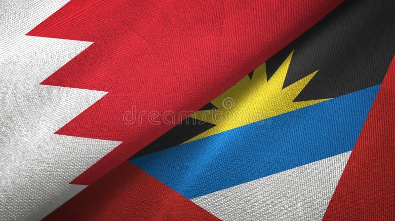 Tissu de textile de drapeaux du Bahrain et de l'Antigua-et-Barbuda deux, texture de tissu illustration stock