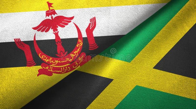 Tissu de textile de drapeaux du Brunei et de la Jamaïque deux, texture de tissu illustration libre de droits