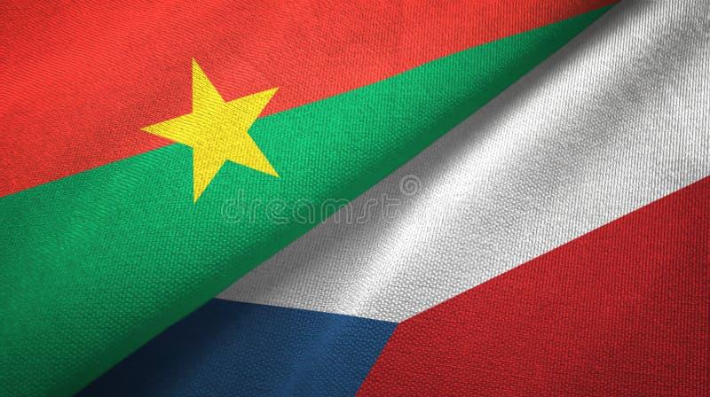 Tissu de textile de drapeaux du Burkina Faso et de la République Tchèque deux, texture de tissu illustration de vecteur