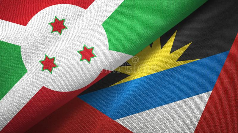 Tissu de textile de drapeaux du Burundi et de l'Antigua-et-Barbuda deux, texture de tissu illustration de vecteur