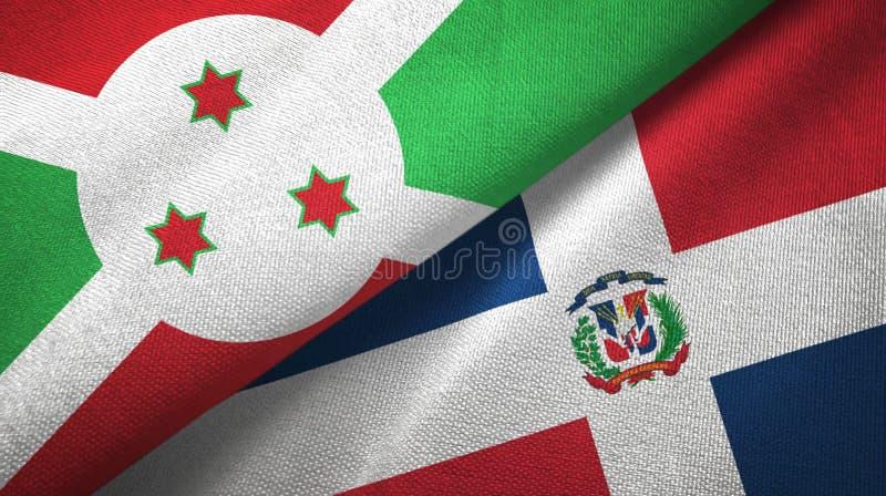 Tissu de textile de drapeaux du Burundi et de la République Dominicaine deux, texture de tissu illustration de vecteur