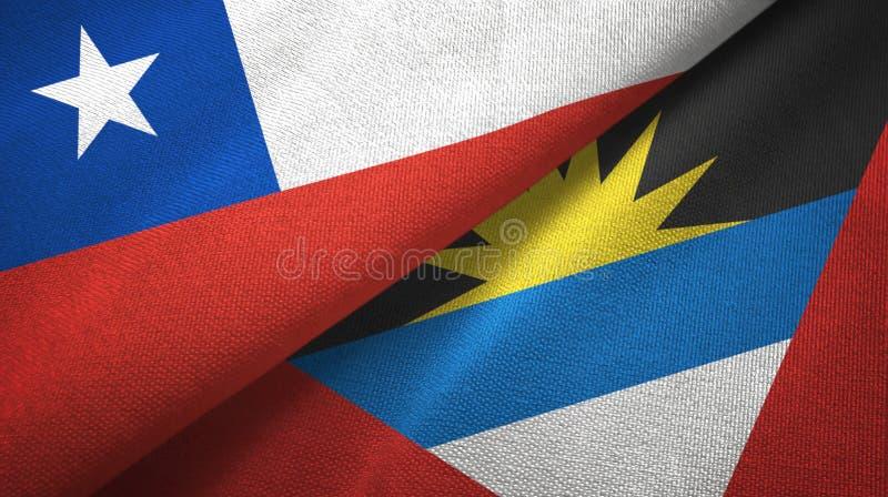 Tissu de textile de drapeaux du Chili et de l'Antigua-et-Barbuda deux, texture de tissu illustration de vecteur