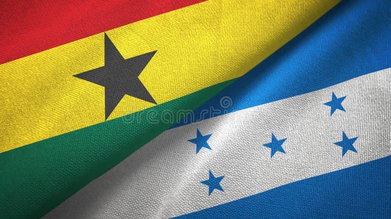 Tissu de textile de drapeaux du Ghana et du Honduras deux, texture de tissu illustration de vecteur