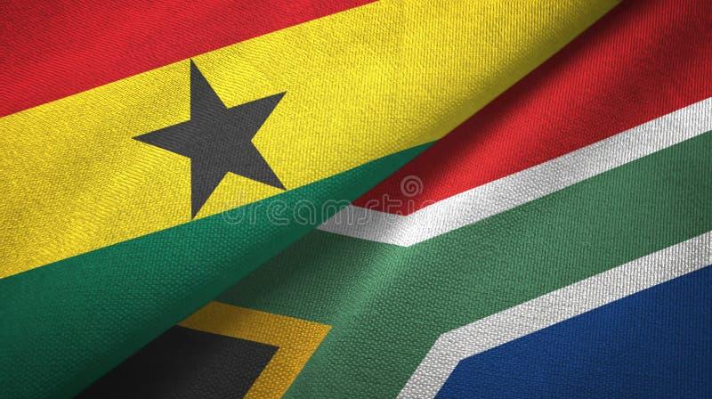 Tissu de textile de drapeaux du Ghana et de l'Afrique du Sud deux, texture de tissu illustration stock
