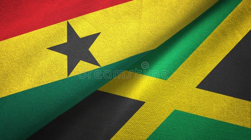 Tissu de textile de drapeaux du Ghana et de la Jamaïque deux, texture de tissu illustration de vecteur