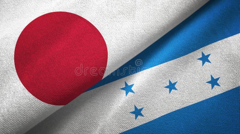 Tissu de textile de drapeaux du Japon et du Honduras deux, texture de tissu illustration de vecteur
