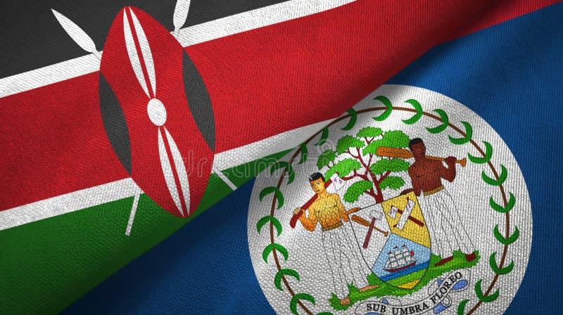 Tissu de textile de drapeaux du Kenya et de Belize deux, texture de tissu illustration de vecteur
