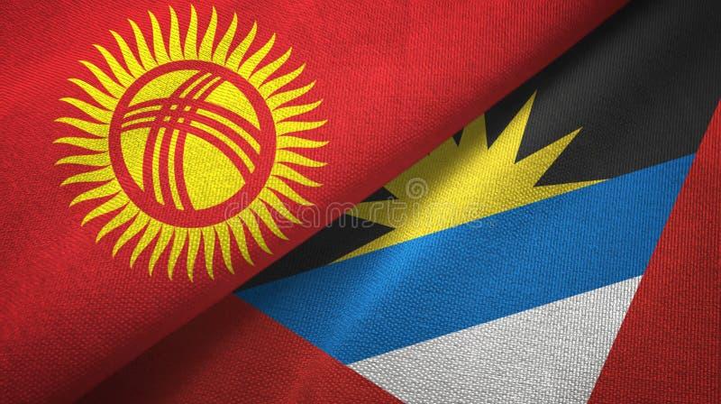 Tissu de textile de drapeaux du Kirghizistan et de l'Antigua-et-Barbuda deux, texture de tissu illustration de vecteur