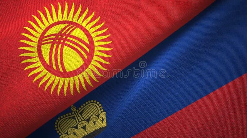 Tissu de textile de drapeaux du Kirghizistan et de la Liechtenstein deux, texture de tissu illustration stock