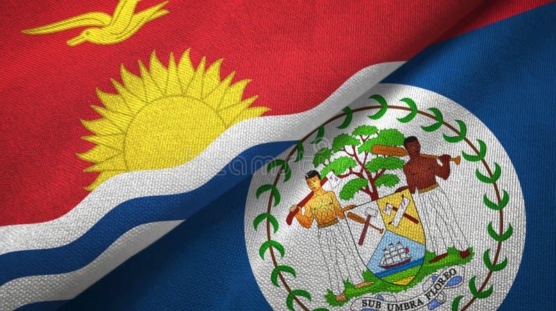 Tissu de textile de drapeaux du Kiribati et de Belize deux, texture de tissu illustration de vecteur