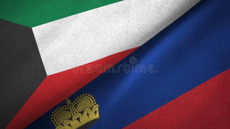 Tissu de textile de drapeaux du Kowéit et de la Liechtenstein deux, texture de tissu illustration stock