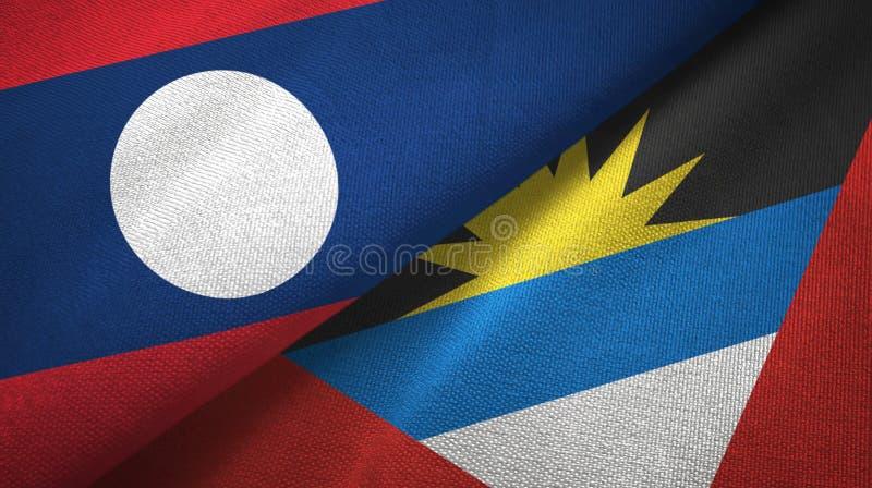 Tissu de textile de drapeaux du Laos et de l'Antigua-et-Barbuda deux, texture de tissu illustration de vecteur