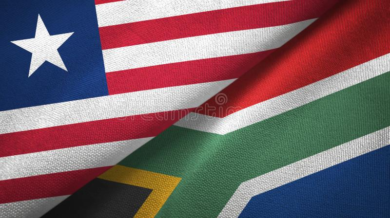 Tissu de textile de drapeaux du Libéria et de l'Afrique du Sud deux, texture de tissu illustration stock