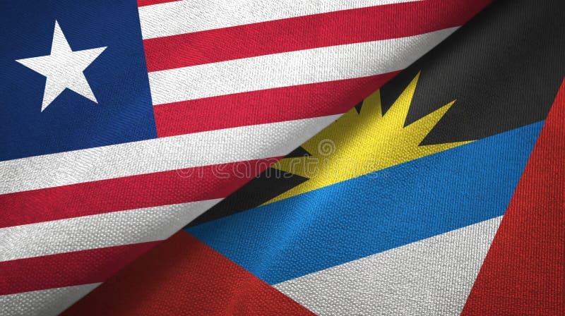 Tissu de textile de drapeaux du Libéria et de l'Antigua-et-Barbuda deux, texture de tissu illustration de vecteur