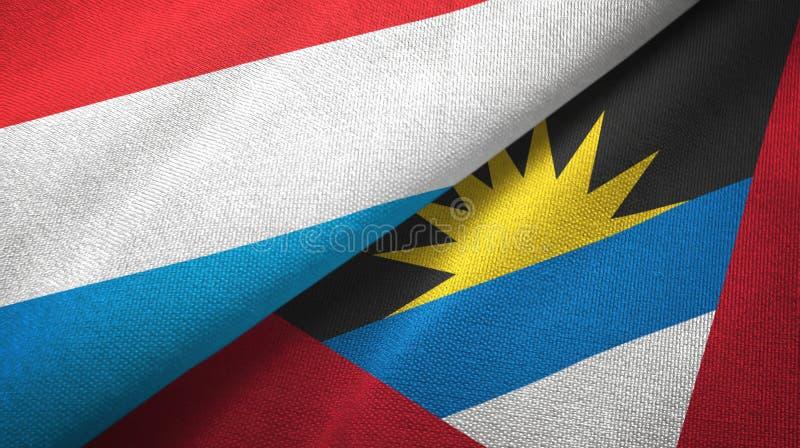 Tissu de textile de drapeaux du luxembourgeois et de l'Antigua-et-Barbuda deux, texture de tissu illustration libre de droits