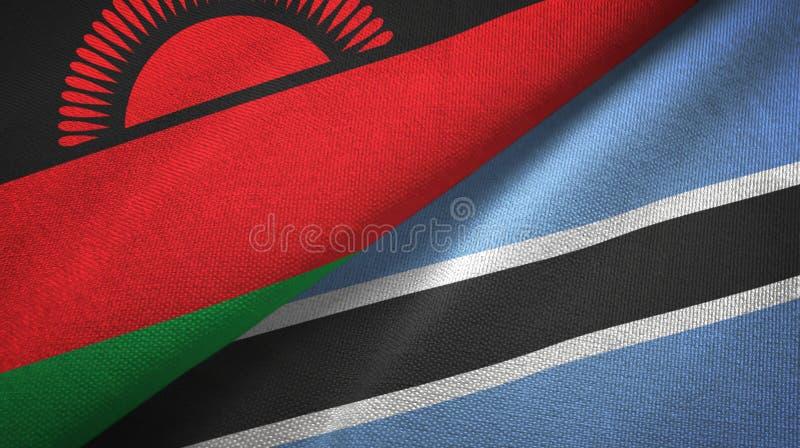 Tissu de textile de drapeaux du Malawi et du Botswana deux, texture de tissu illustration libre de droits