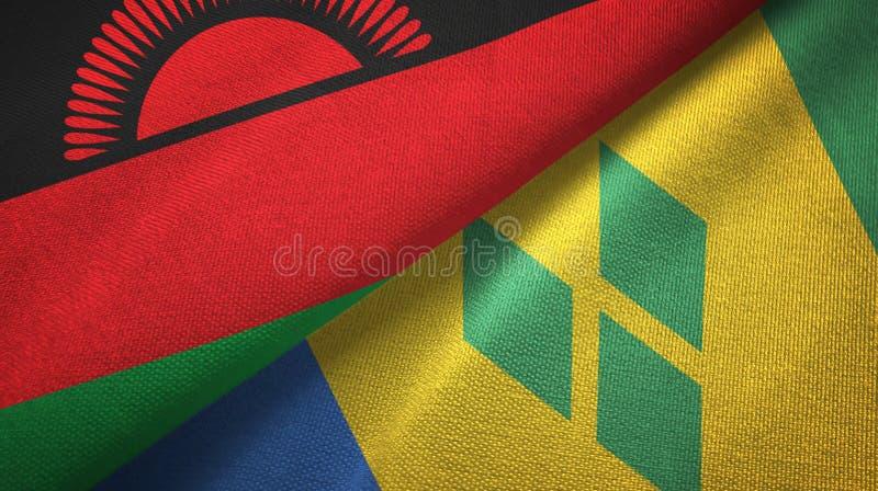 Tissu de textile de drapeaux du Malawi et du Saint-Vincent-et-les-Grenadines deux illustration libre de droits