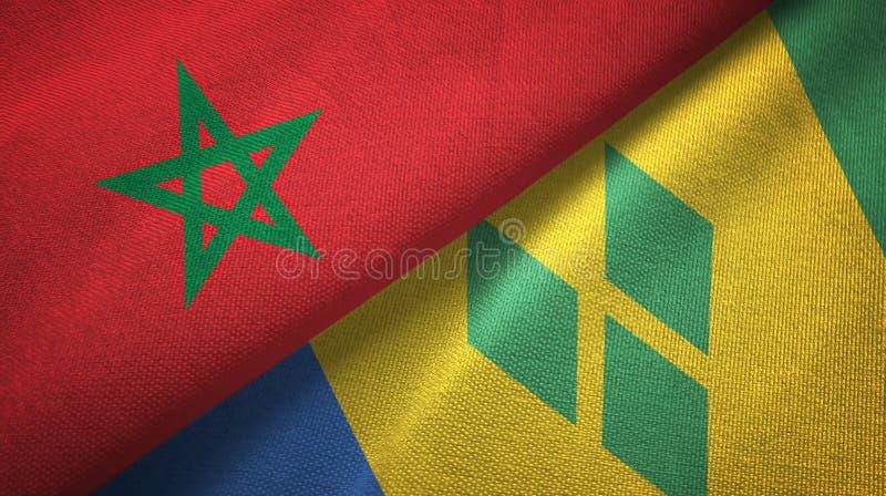 Tissu de textile de drapeaux du Maroc et du Saint-Vincent-et-les-Grenadines deux illustration de vecteur