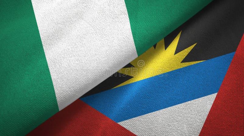 Tissu de textile de drapeaux du Nigéria et de l'Antigua-et-Barbuda deux, texture de tissu illustration de vecteur