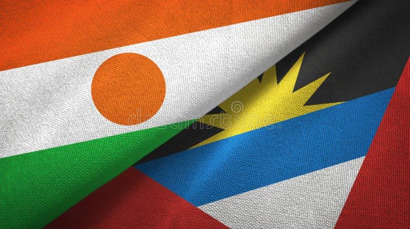 Tissu de textile de drapeaux du Niger et de l'Antigua-et-Barbuda deux, texture de tissu illustration de vecteur