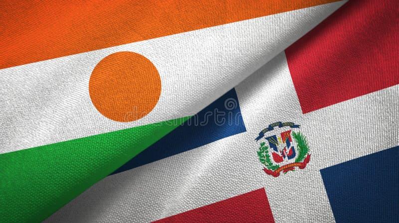 Tissu de textile de drapeaux du Niger et de la République Dominicaine deux, texture de tissu illustration libre de droits