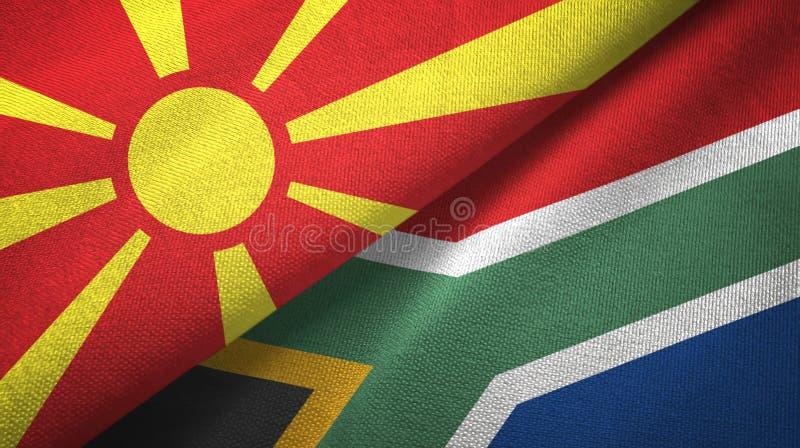Tissu de textile de drapeaux du nord de Mac?doine et de l'Afrique du Sud deux, texture de tissu illustration libre de droits