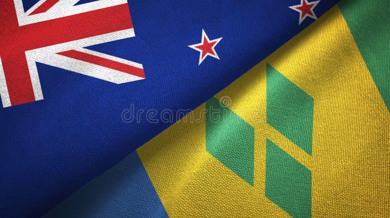 Tissu de textile de drapeaux du Nouvelle-Zélande et de Saint-Vincent-et-les-Grenadines deux illustration libre de droits