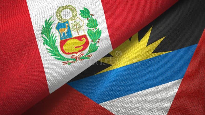 Tissu de textile de drapeaux du Pérou et de l'Antigua-et-Barbuda deux, texture de tissu illustration stock