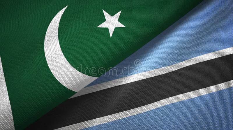 Tissu de textile de drapeaux du Pakistan et du Botswana deux, texture de tissu illustration stock