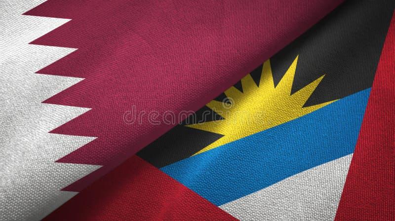 Tissu de textile de drapeaux du Qatar et de l'Antigua-et-Barbuda deux, texture de tissu illustration libre de droits