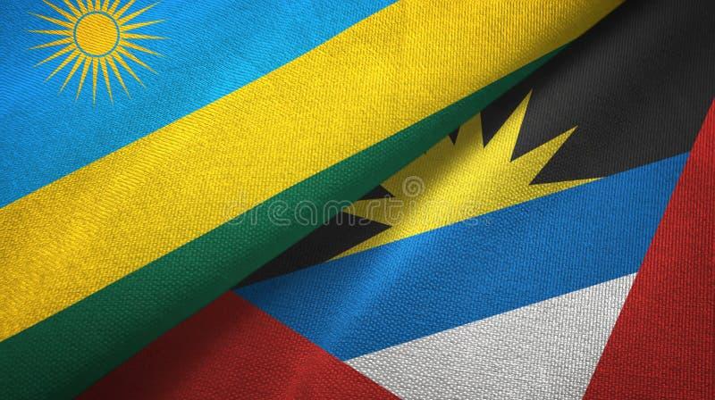 Tissu de textile de drapeaux du Rwanda et de l'Antigua-et-Barbuda deux, texture de tissu illustration libre de droits