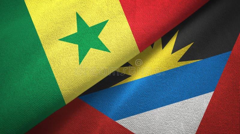 Tissu de textile de drapeaux du Sénégal et de l'Antigua-et-Barbuda deux, texture de tissu illustration stock