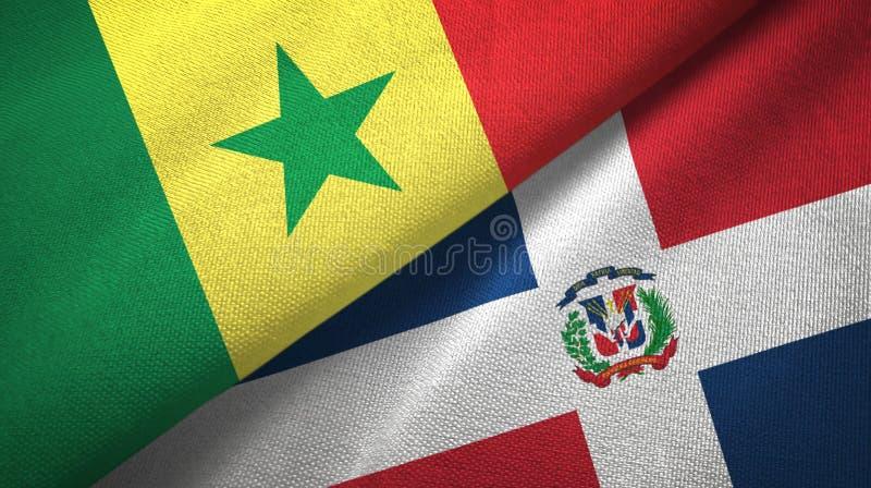 Tissu de textile de drapeaux du Sénégal et de la République Dominicaine deux, texture de tissu illustration stock