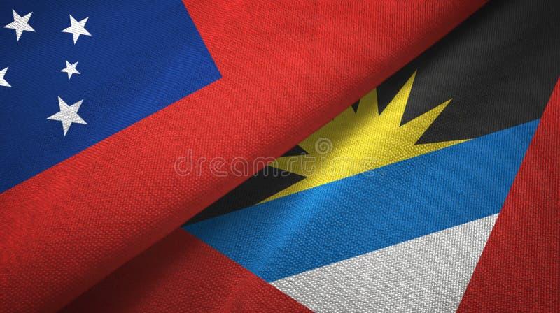 Tissu de textile de drapeaux du Samoa et de l'Antigua-et-Barbuda deux, texture de tissu illustration stock
